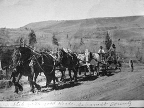 Picture of Historic Road Grader Pulled By 6 Horses Working on Heeney Road