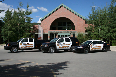 Justice Center and Police Cars