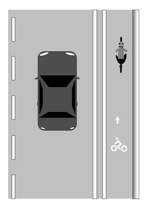 Illustration of a bicycle lane alongside a vehicle lane