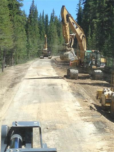 Picture of Trackhoe and Heavy Equipment Working on Montezuma Road