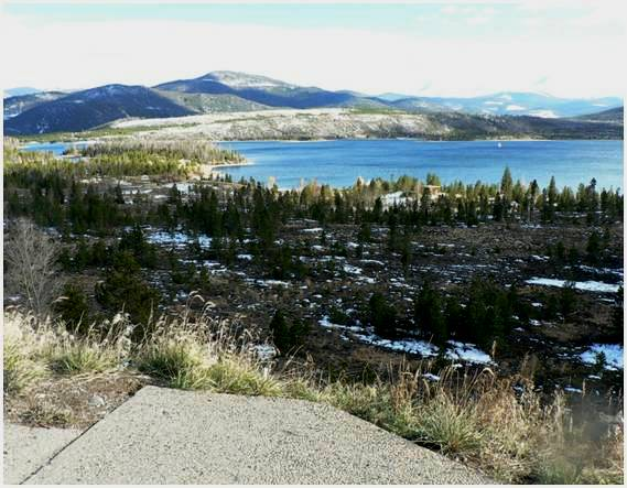 Photo of the Lake Hill parcel, from I-70. The land slopes downward toward Dillon Reservoir.