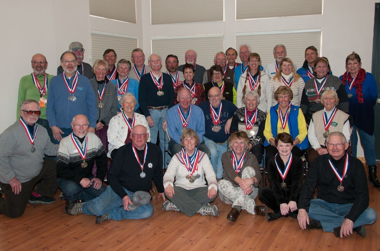 2016 Large Group Photo of Obstacle Course and Ski Racing Medal Winners from the 50+ Winter Games