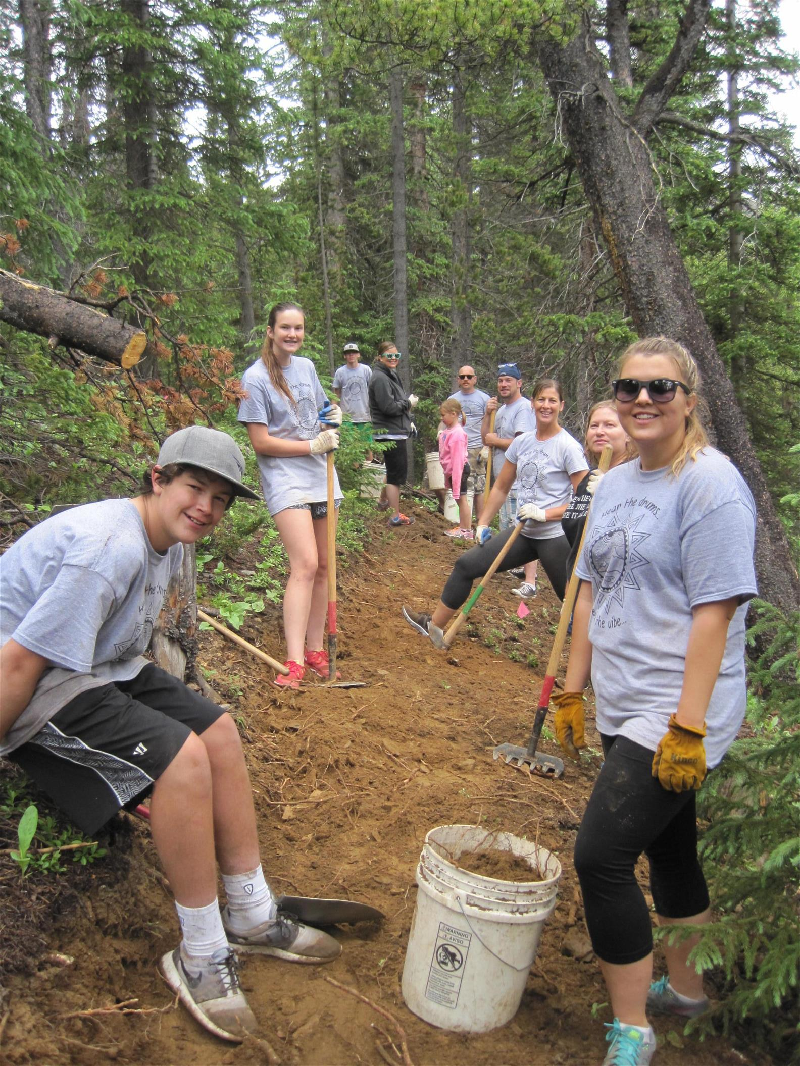 Volunteer trail workers