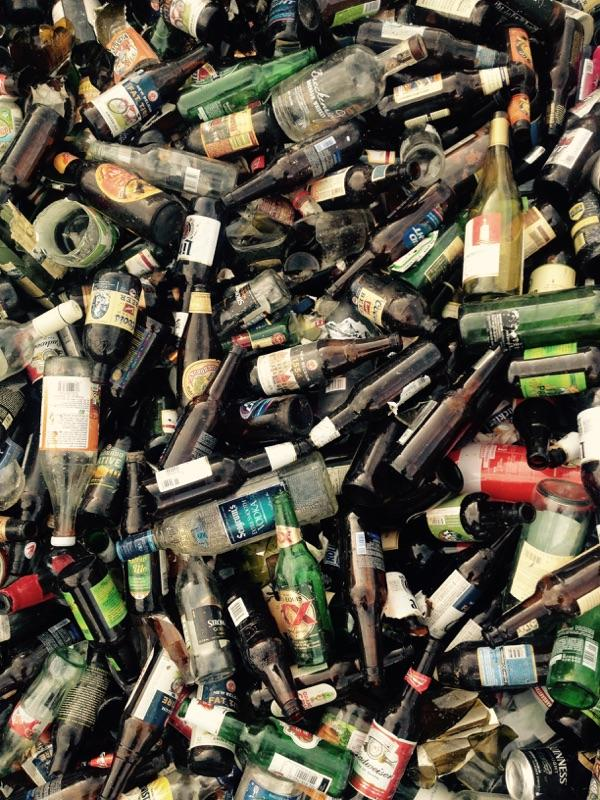 Photo of a pile of glass bottles