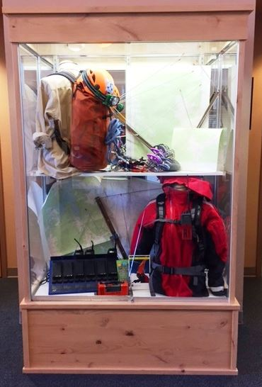 Photo of a display case containing rescue gear