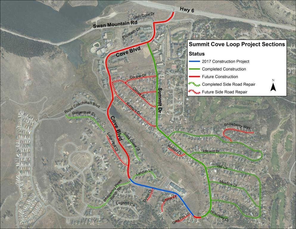 A map showing completed and future work in Summit Cove.