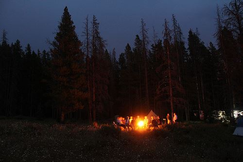 A group of people sitting around a campfire.