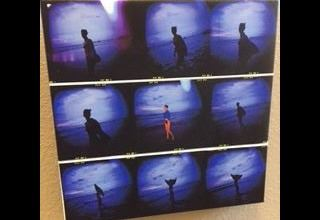 Nine photographs of a woman walking, mounted together in a square.