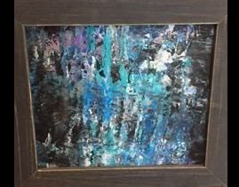 Abstract painting of blue, black, white and purple.
