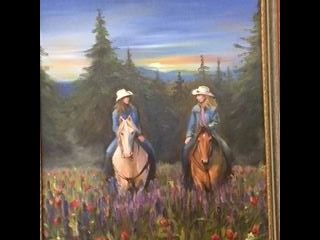 Painting of two women riding horses through a meadow of wildflowers.