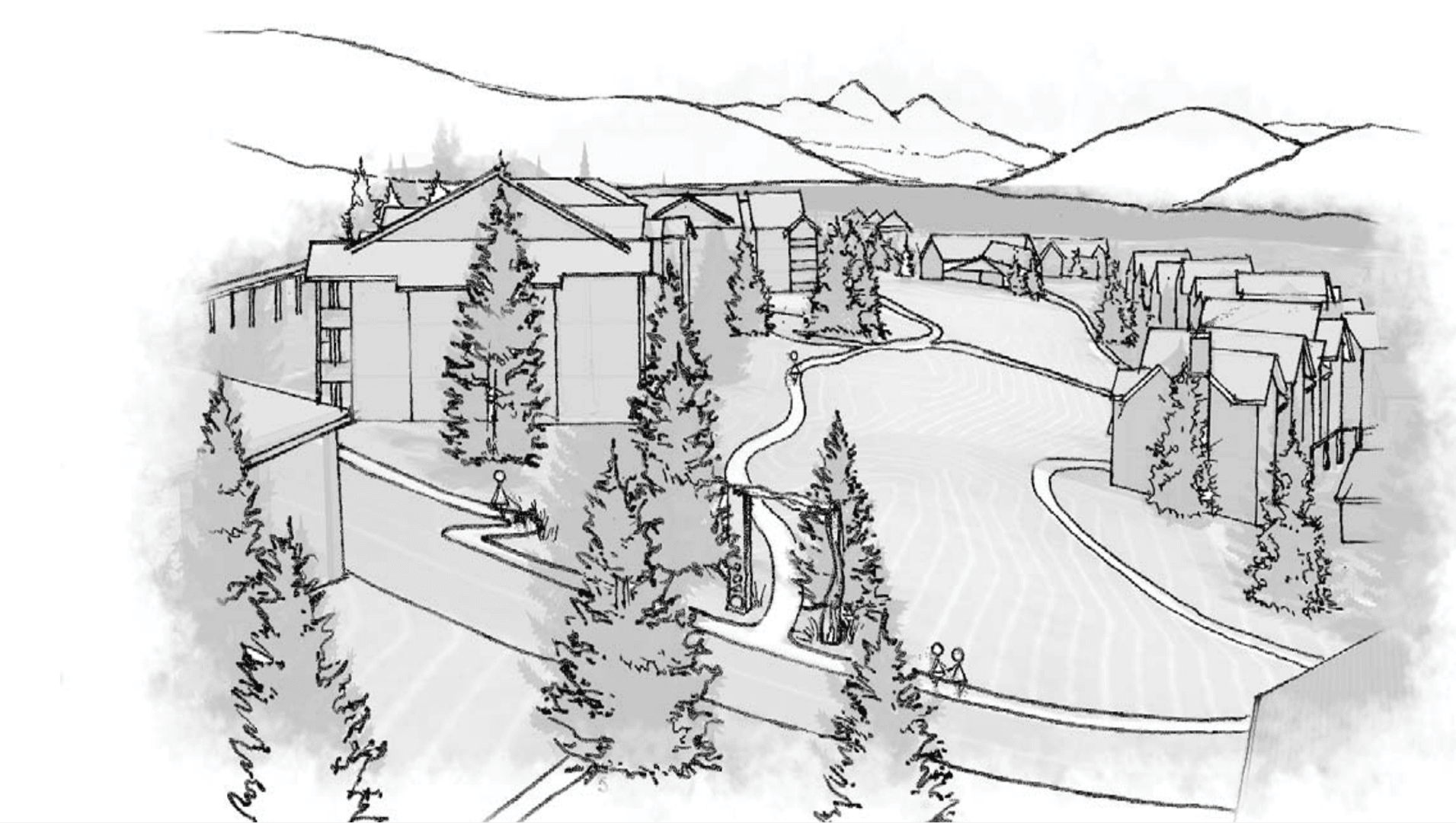 Sketch of a workforce housing development at Lake Hill.