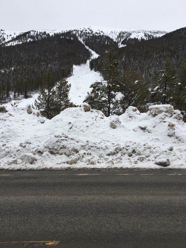An avalanche path in the Tenmile Range runs to the highway.