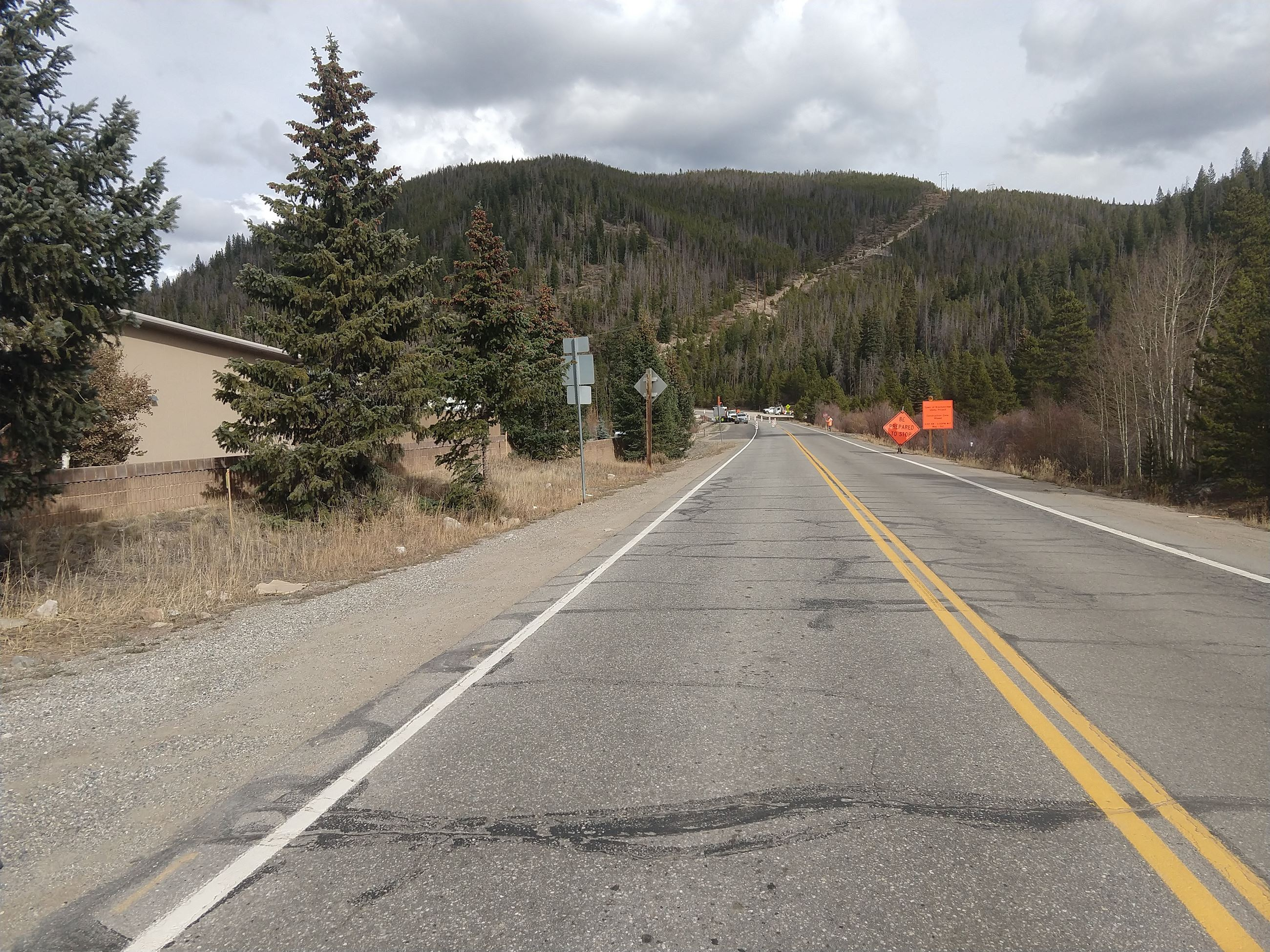 A construction zone on Swan Mountain Road