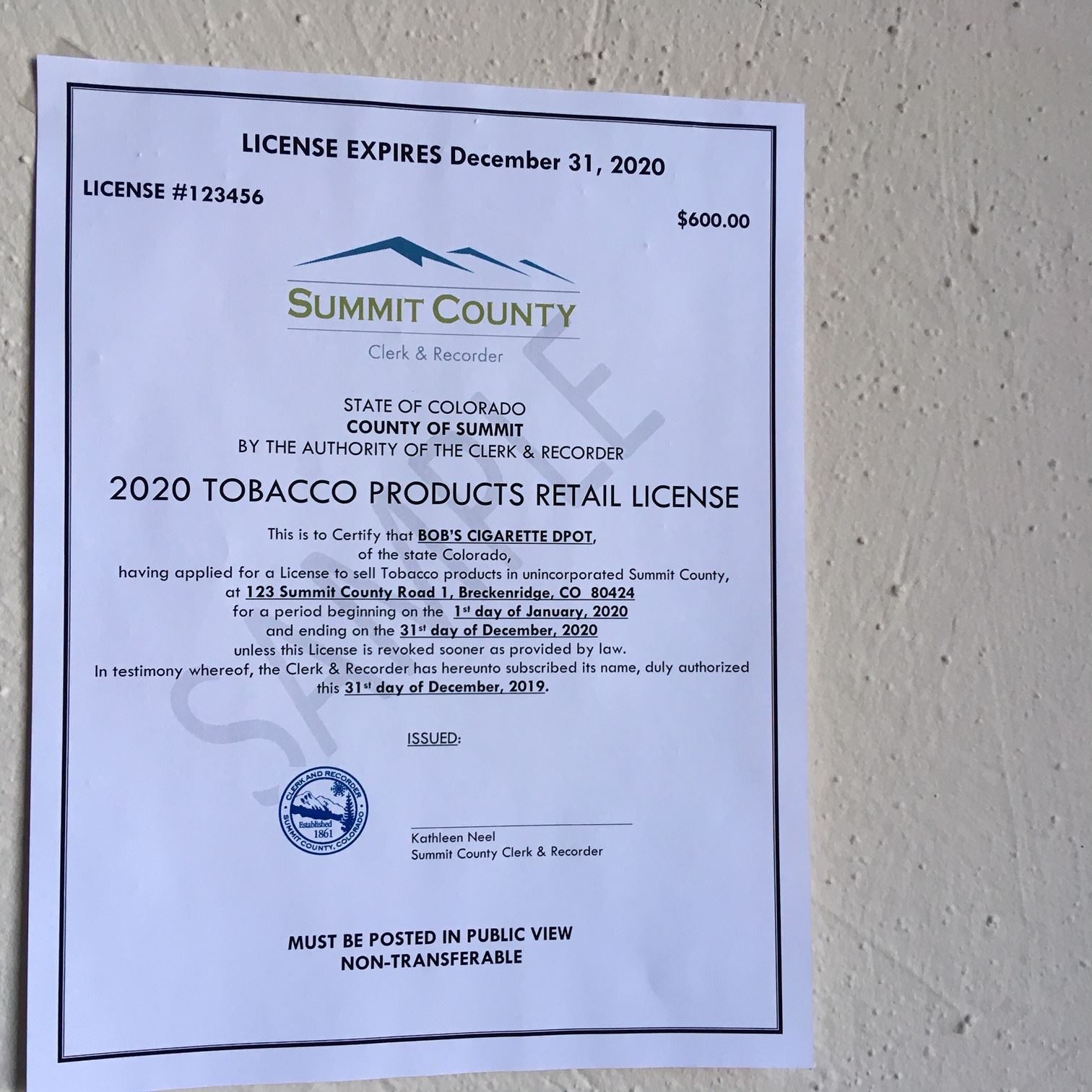 Sample retail tobacco license