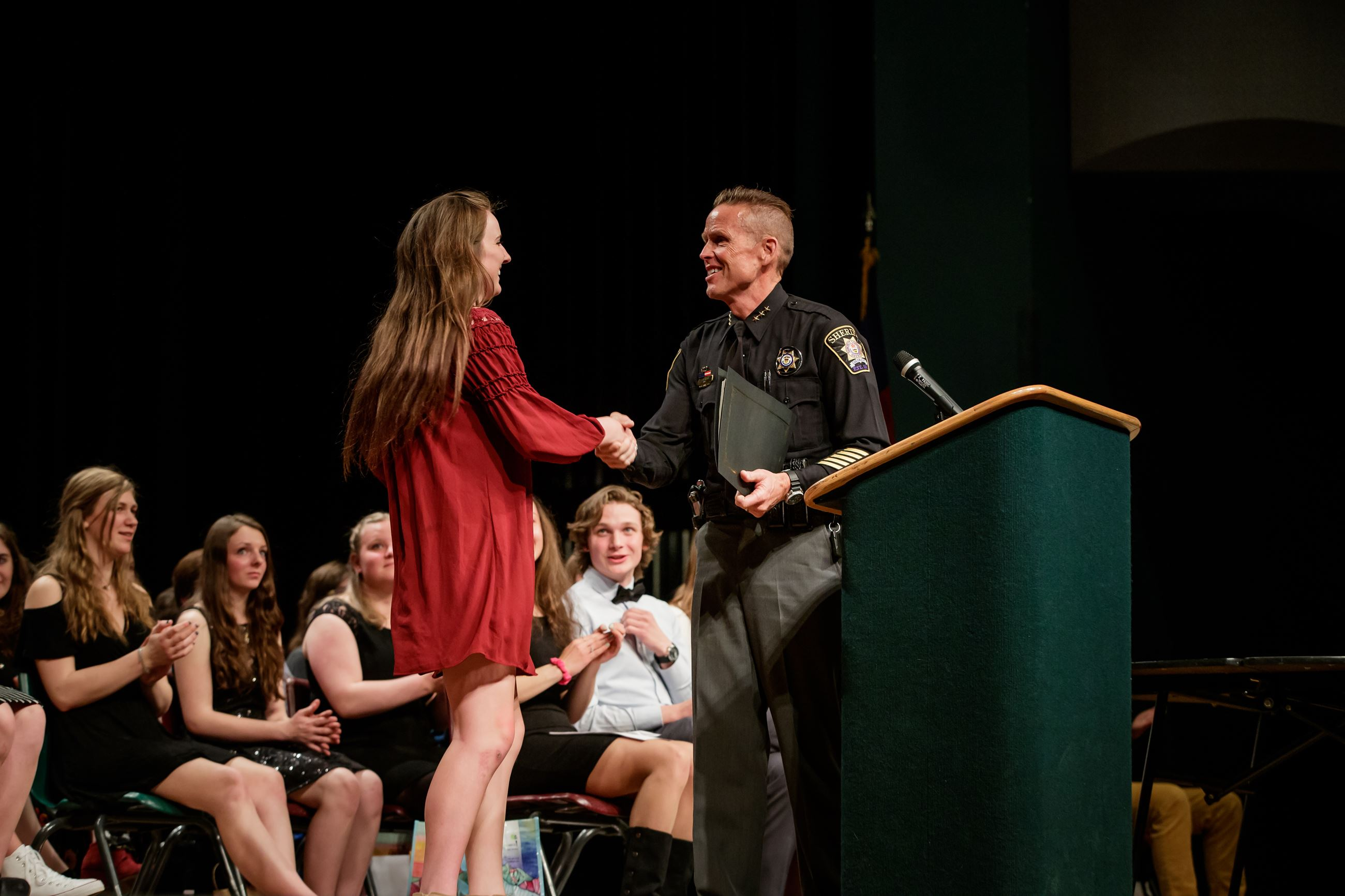 Sheriff FitzSimons awards the 2019 Summit County Leadership Scholarship