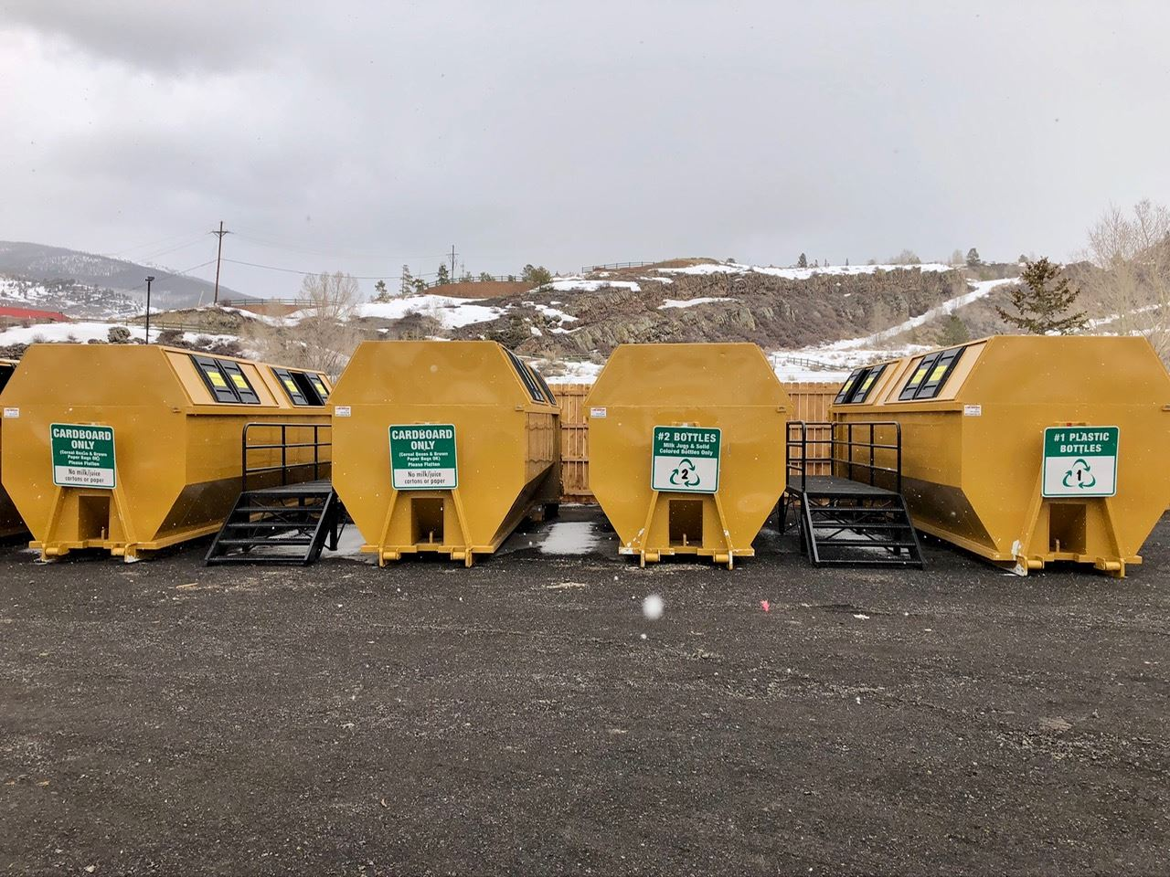 Containers for cardboard and plastic at the Silverthorne Recycling Center.
