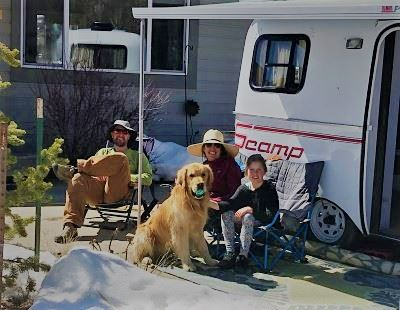 Family Camping in Driveway
