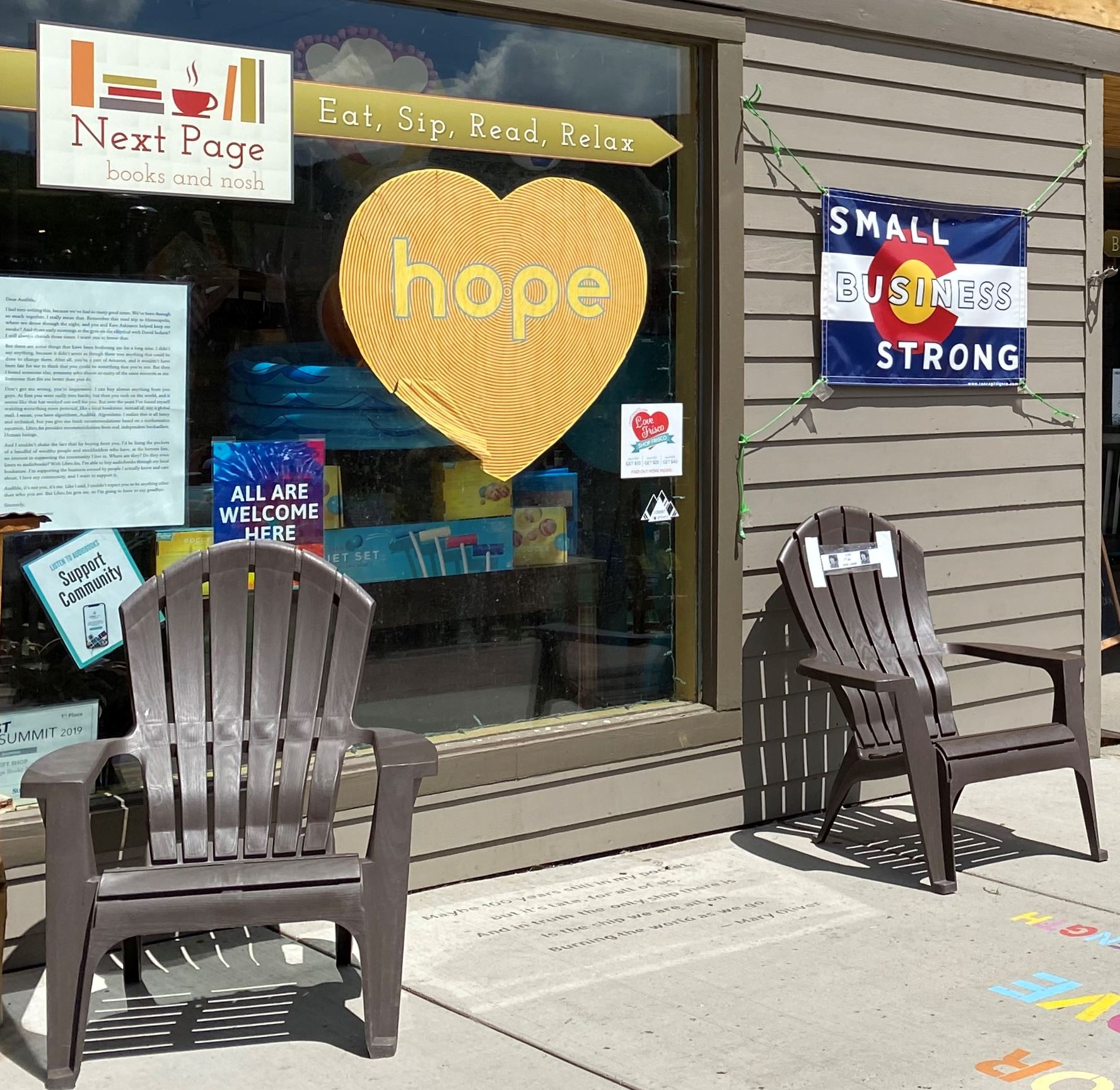 "A business has a sign in the shape of a heart that says, ""hope."""