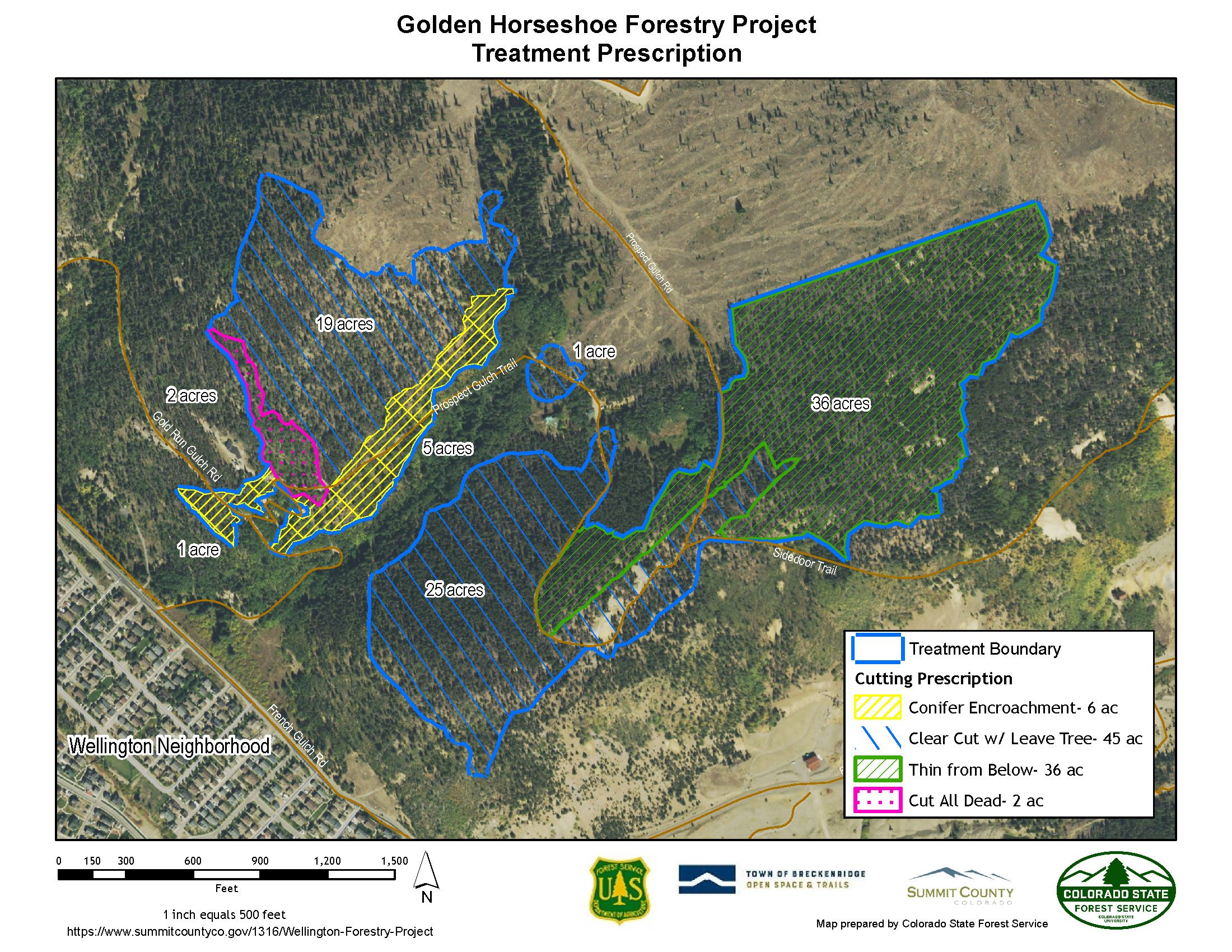 Map showing Wellington Forestry Project Treatment Units - Updated 9/3/2020
