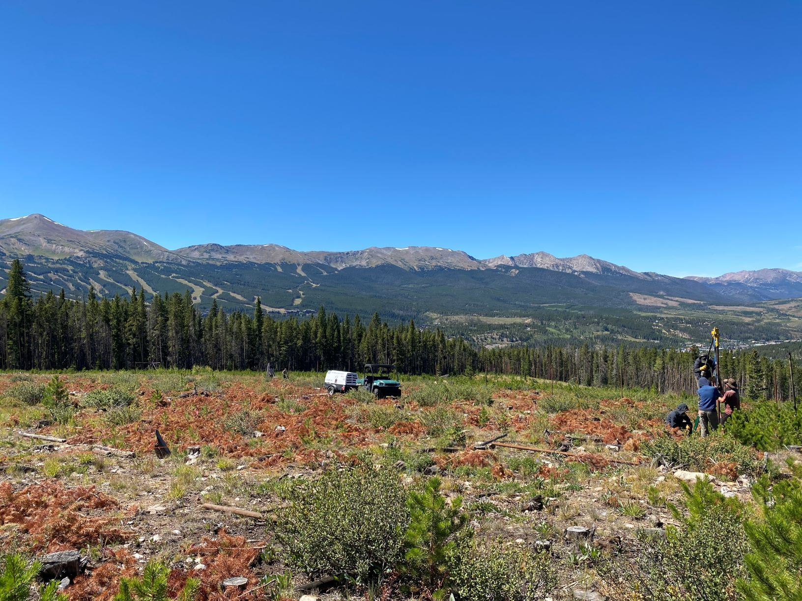 Barney Ford Open Space in summer, with a view of Breckenridge ski area in the background.