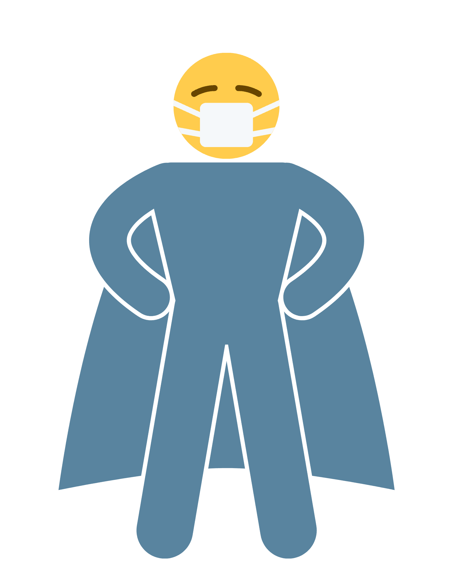 An emoji with superhero cape and face covering.
