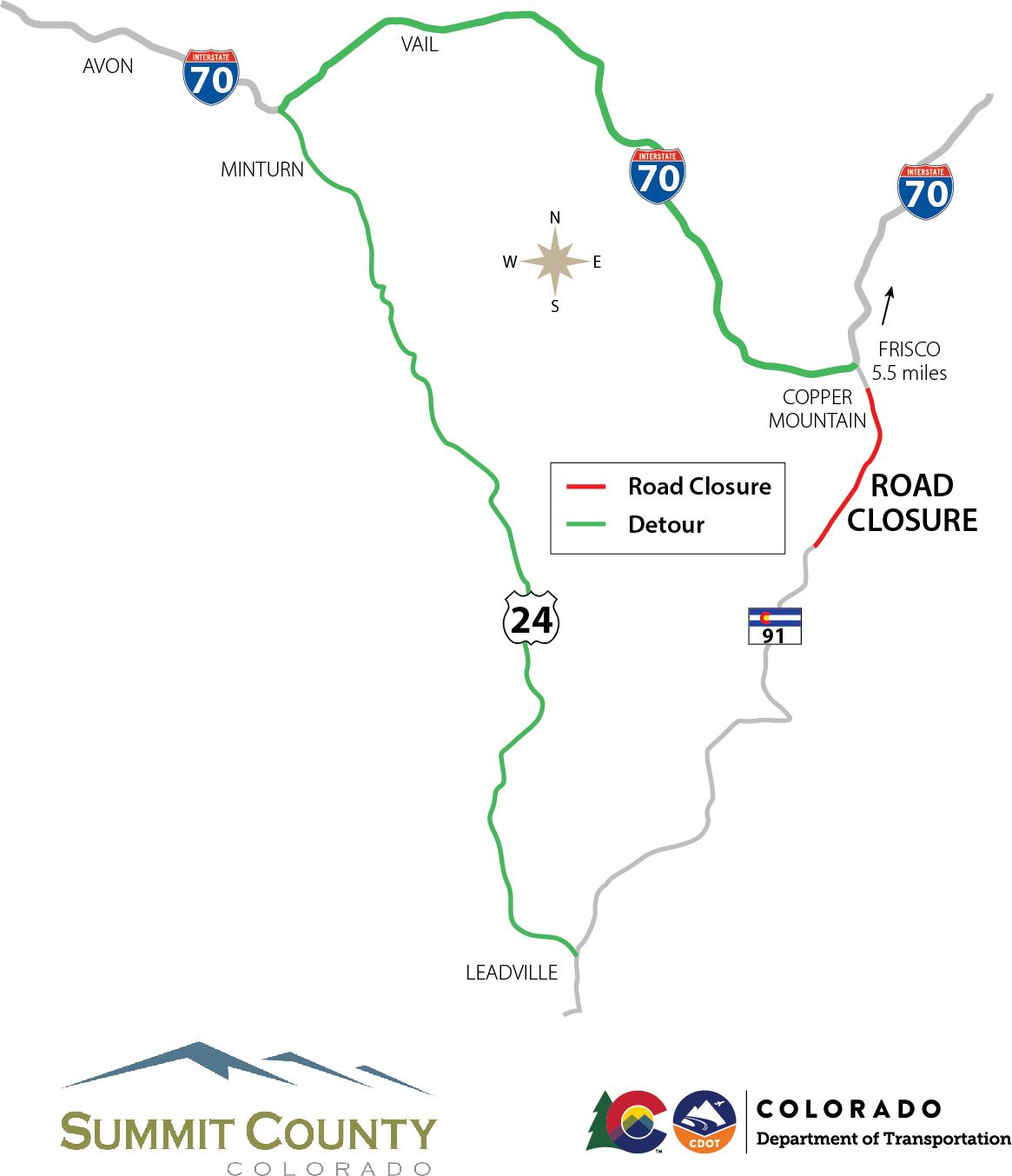 CO 91 detour map with logos