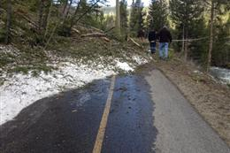 Avalanche debris covers the the Tenmile Recpath
