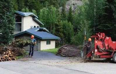 Photo of two workers taking material from a slash pile and feeding it into a portable wood chipper.