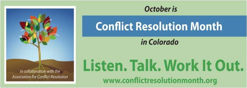 Illustration. October is Conflict Resolution Month in Colorado