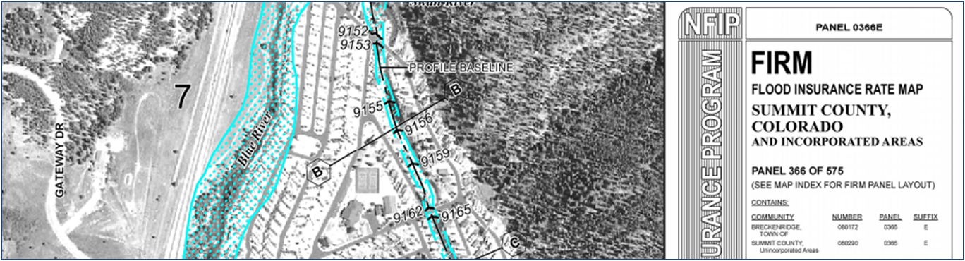 Excerpt of a Flood Insurance Rate Map. An area along the Blue River is identified as being in the floodplain.