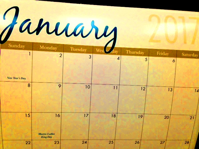 Photo of a calendar, January 2017 page.