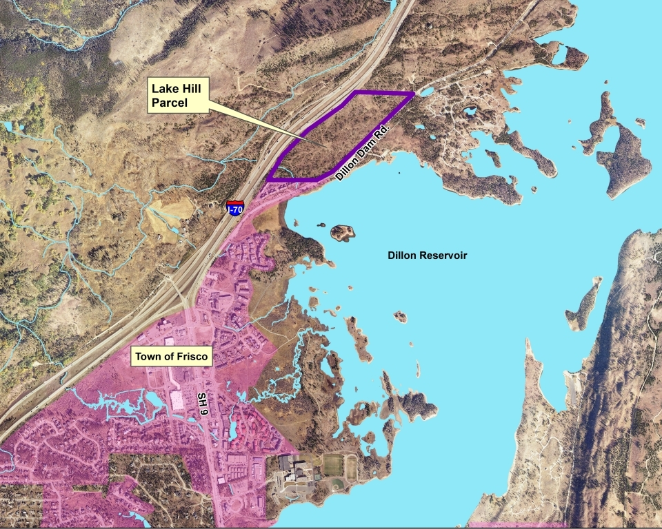 Map of the vicinity of Lake Hill. The parcel is located immediately northeast of Frisco. Dillon Reservoir lies the south, and I-70 forms the northern border.