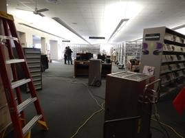 Photo of large air blowers spread throughout the library.