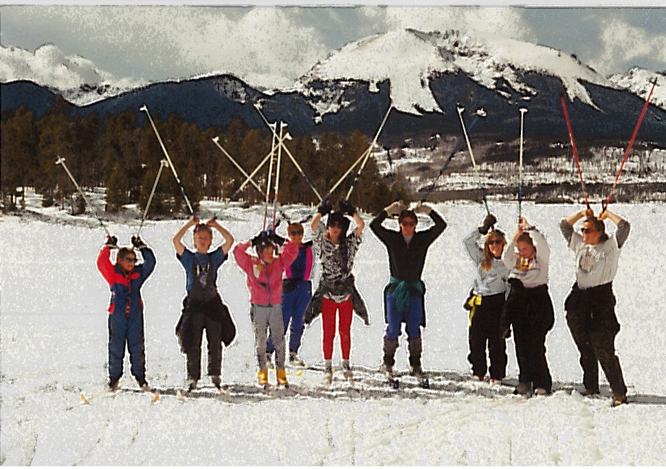 Photo of a group of teens and adults on cross country skis.