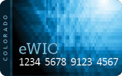 Photo of a Colorado eWIC debit card.
