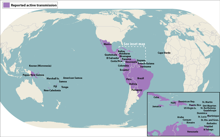 Map of the world, showing countries with active Zika transmission via mosquito, including Mexico, all Caribbean nations, all of Central America, and all of South America except for Argentina, Chile an