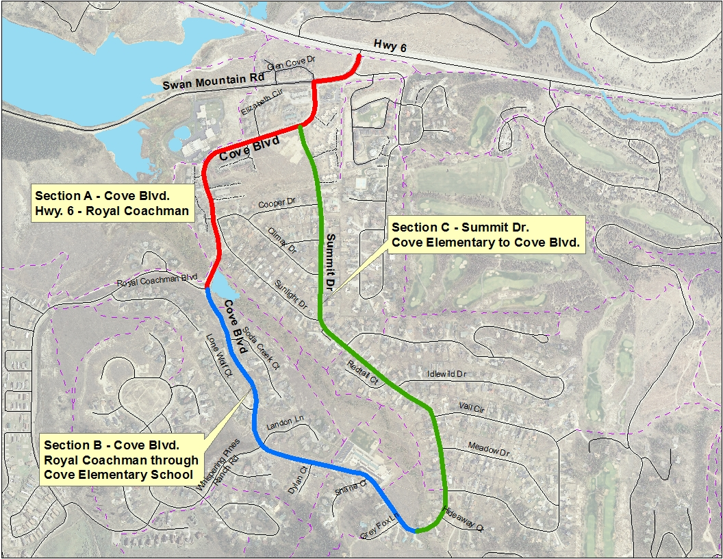 Map of Summit Cove, with Cove Boulevard and Summit Drive highlighted.