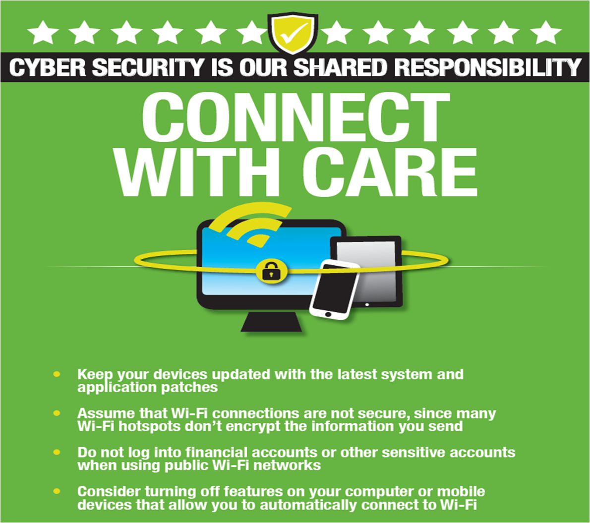 Poster that says, Connect with Care, Cyber Security is a shared responsibility.
